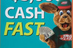 Speedy Roo, the mascot of the payday loan lender Speedy Cash, in an Austin advertisement.