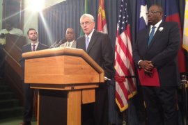 State Rep. Tom Craddick, R-Midland, speaks at a press conference on payday lending bills April 29, 2015. He is flanked by Sen. Rodney Ellis, D-Houston, left, and Sen. Royce West, D-Dallas, to his right.