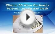 Credit Repair - What to DO When You Need a Personal Loan