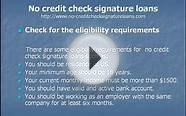How to apply no credit check signature loan